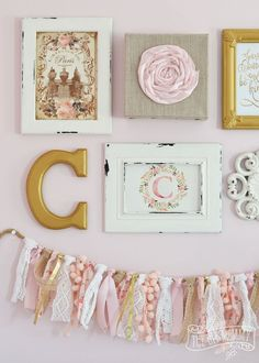 Thrifted Shabby Chic Gallery Wall and Ruffled Lamp in Blush Pink, White and Gold #12MonthsofDIY