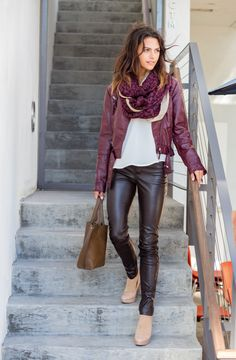 Great gift for frequent travellers - sheer dot compression knee highs by Rejuva! Helps relieve swelling, pain, and prevent DVT in flight & on the go. Comfy Travel Outfit, Travel Outfits, Shiny Leggings, Neutral Outfit, Leather Trousers, Comfortable Fashion, Pants Outfit, Leather Fashion, Fall Outfits