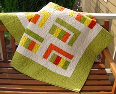 Twin Coverlet/ Throw Quilt in Juicy Citrus by ColoradoQuilts,