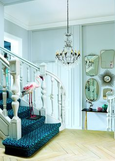 Pop turquoise apartment. Interiors By Color. http://www.kenisahome.com