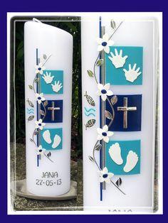 Taufkerze mit Kreuz, Händen, Füßen, Ranke, 2419 von La-Candela_ Kerzen mit Stil auf DaWanda.com