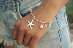 Silver Adjustable Bangle Starfish Bracelet, Beach Bracelet,Custom Starfish Jewelry,Custom Bangle,Initial Bangle on Etsy, $13.45