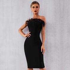 Black Bandeau Sequin Feather Trim Bodycon Dress Sizes 12 14 Cocktail Party Ball