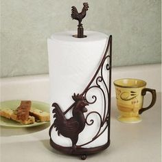 Rooster Metal paper towel holder