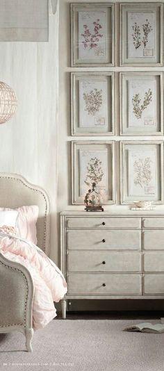 RW Marceline Bedroom Collection Lovely love the framed art Restoration Hardware Baby, Bedroom Art, Master Bedroom, Dresser As Nightstand, Beautiful Bedrooms, My Room, Decoration, Painted Furniture, Interior Design