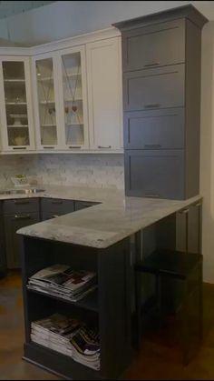Kitchen Island Storage, Kitchen Pantry Design, Kitchen Pantry Cabinets, Kitchen Cabinet Storage, Custom Kitchen Cabinets, Kitchen Redo, Modern Kitchen Design, Home Decor Kitchen, Interior Design Kitchen
