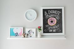 Donut Art Print - Chalkboard Art Print - Donut is Happiness with Sprinkles on Top - Kitchen Art - Donuts - Bakery Decor - Chalk Art