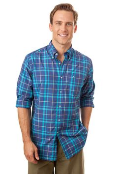 Southern Tide Chesapeake Bay Plaid Performance Sport Shirt- Blue Night from Shop Southern Roots TX