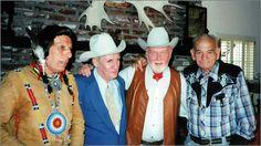Four Western veterans: Iron Eyes Cody, Pat Buttram, Harry Carey, Jr., Yakima Canutt in the 1980's
