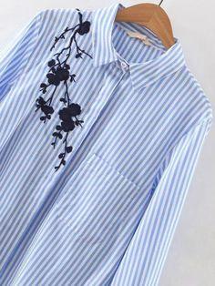 Blusa rayas bordada asimétrica - azul-Spanish SheIn(Sheinside) Sitio Móvil