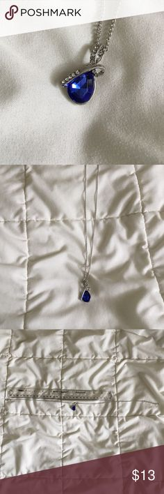 Beautiful Waterdrop Necklace Dainty & Beautiful, with a deep Sapphire - like gem in the center. No Trades  No Paypal @MyChicBoutique1 Jewelry Necklaces
