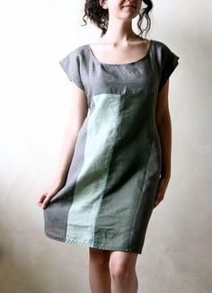 Women's linen tunic dress  knee length patchwork tunic by LoreTree, €95.00