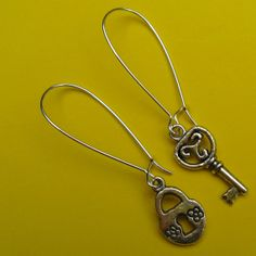 Lock and Key Earrings by MimiJewels on Etsy, $7.00.  http://www.etsy.com/listing/104027186/lock-and-key-earrings?ref=shop_home_active