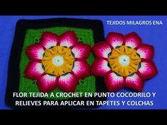 Aprende como tejer a crochet Flor en punto cocodrilo y relieves para aplicar en tapetes y colchas - YouTube