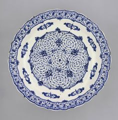 Large fritware dish underglaze painted with cobalt blue spiral designs  Iznik, Western Turkey, 920 – 950 AH/ 1520 – 1540 CE  44 cm diameter; 7.5 cm high