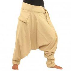 Pantalones bombachos con frente pequeña de bolsillo / crema de lado para enlazar a-