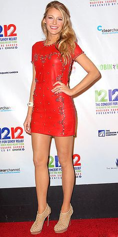 Blake Lively in Studded Red Leather Mini & Caged Heels