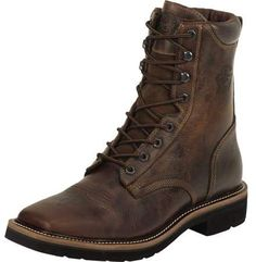 Justin Boots Justin Boot Company Mens Rugged Tan Steel Toe Lace Up Work Boots Tan Boots, Leather Boots, Shoe Boots, Cowboy Boots, Men's Shoes, Comfortable Steel Toe Boots, Justin Work Boots, Steel Toe Work Shoes, Mens Boots Fashion