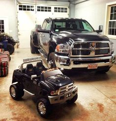 daddy and son, matching trucks. This will happen one day!:)