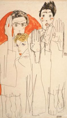Egon Schiele - Double Self-portrait with Wally, Seher (Doppelselbstporträt mit Wally), gouache, watercolors. Gustav Klimt, Art And Illustration, Figure Drawing, Painting & Drawing, Gouache, Art Moderne, Oeuvre D'art, Art History, Modern Art