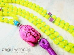 Joy & Happiness Mala Beads /  Prayer Beads - Yellow Jade - Japa Mala Meditation Beads - Buddha