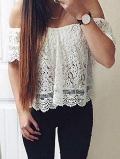 Sexy Slash Collar Short Sleeve Solid Color Lace Women's Blouse