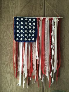 Shabby chic American flag Fourth Of July Decor, 4th Of July Decorations, 4th Of July Party, 4th Of July Wreath, July 4th, Americana Crafts, Patriotic Crafts, Ribbon Garland, Garlands
