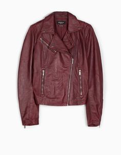Leather biker jacket - JACKETS - WOMAN | Stradivarius België / Belgique