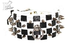 Handmade Leather Dog Collar with Checkered Pattern and Metal Spikes - Dangerous Games - CC10275S by HandmadePetCreations on Etsy