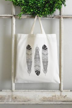 Feather Tote Bag_reusable grocery cotton by bowsandburlapdesigns