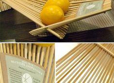 Decoração e Projetos Ideias para decoração com material reciclado - Fruteira com palitos de comida chinesa