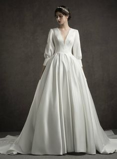 White Satin Deep V Neck Long Sleeve Wedding Dress With Train # Bridal Dress . White Satin Deep V-Neck Long Sleeve Wedding Dress With Train # Bridal Dress # Long Sleeve # With Simple Wedding Dresses Lace White Späg. Wedding Dress Sleeves, Long Wedding Dresses, Long Sleeve Wedding, Bridal Dresses, Lace Dress, Dresses With Sleeves, Dress Long, Long Sleeve Gown, Wedding Gowns