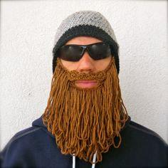 shaggy beard beanie  grey with medium brown beard by taraduff, $53.00