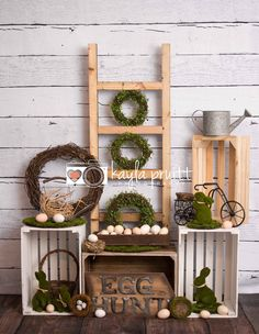 An Easter themed photography backdrop featuring moss covered wreaths, bunnies & lots of eggs. Order online at www.backdropscanada.ca