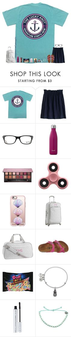 """""""✧ entry 1"""" by preppiness-and-pineapples ❤ liked on Polyvore featuring J.Crew, Ray-Ban, Anastasia Beverly Hills, Casetify, PBteen, Birkenstock, Alex and Ani, 100% Pure, Pura Vida and kandhbeachcontest"""