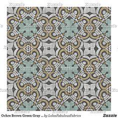 Ochre Brown Green Gray Retro Nouveau Deco Pattern Fabric Bohemian Fabric, Sewing Projects, Diy Projects, Green And Grey, Gray, Pattern Fabric, Craft Party, Custom Fabric