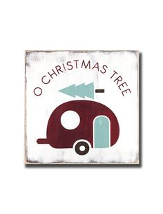o christmas tree with camper wooden hand painted sign - Barn Owl Primitives