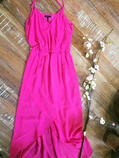 Hot pink high low spaghetti strap dress - perfect for those summer weddings or even date night! #weddingwear #highlowdress #hotpinkdress