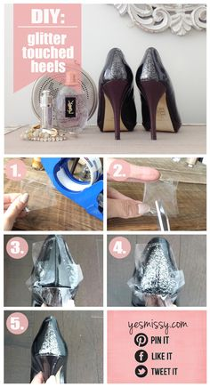 DIY - Glitter Touched Heels Tutorial      Great idea for holiday party shoes!