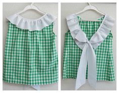 De costuras y otras cosas: BLUSÓN PARA NIÑA EN CUADROS VICHY Cute Baby Dresses, Girls Dresses, Sewing For Kids, Baby Sewing, Toddler Girl Outfits, Kids Outfits, Kids Dress Patterns, Kids Tops, Diy Clothes