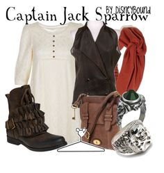 Captain Jack Sparrow by leslieakay on Polyvore featuring Jeffrey Campbell, LULU, FOSSIL, Disney and disney