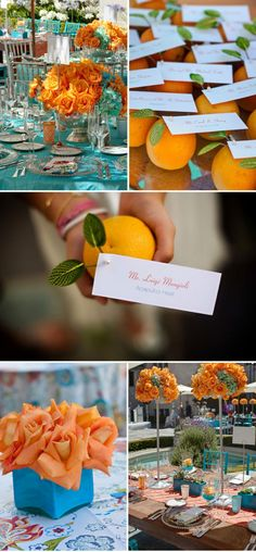 Cheap Wedding Favor Idea: Oranges or Nectarines plus a teal bow or writing....maybe we can do apples or plums