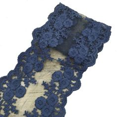 3 Yards Cotton Embroidered Net Lace Ribbon 4-3/4' Wide for Dress Sewing DIY Hair Accessories Ornament 8 Colors Available (navy) ** Click image to review more details.
