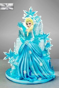 Princess cake by Couturecakesbyolga Bolo Frozen, Torte Frozen, Disney Frozen Cake, Frozen Theme Cake, Disney Cakes, Bolo Barbie, Barbie Cake, Elsa Birthday Cake, Frozen Birthday Party