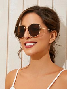 Metal Frame Square Sunglasses | SHEIN South Africa Fashion News, Sunglasses, Metal, Frame, South Africa, Picture Frame, Metals, Sunnies, Shades