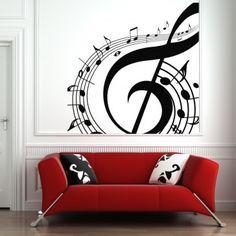 Music Notes Swirl Wall Art Sticker Wall Art Decals - Musical Notes - Music