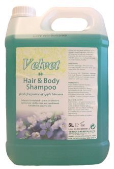 Velvet Hair & Body Wash  x 5 ltr. A thick, green, apple-fragranced high quality hair and body shampoo.  A pH-balanced formula with essential conditioning agents to cleanse, freshen and condition in one application. With a high-foaming formula,  Velvet is suitable for use on all hair and skin types as a hair shampoo, bubble bath, shower gel and all over body wash. Ideal for health clubs, sport centres, hotel rooms, changing rooms and shower areas