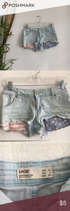 american flag pocket shorts comfy and large pockets hang down in front Cotton On Shorts Jean Shorts