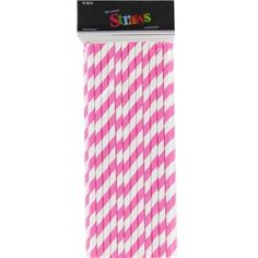 """Add a fun twist to your next celebration with these Bright Pink Stripe Paper Straws. The paper straws are printed with a classic pink and white stripe design. Use them for drinks, cake pops, party accents, crafts, and more.        Dimensions:      Length: 7 5/8""""          Package includes 25 straws."""