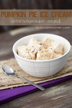 Pumpkin Pie Ice Cream - No Ice Cream Maker Needed! - #recipe by bunsinmyoven.com